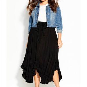 City Chic ruffles maxi skirt
